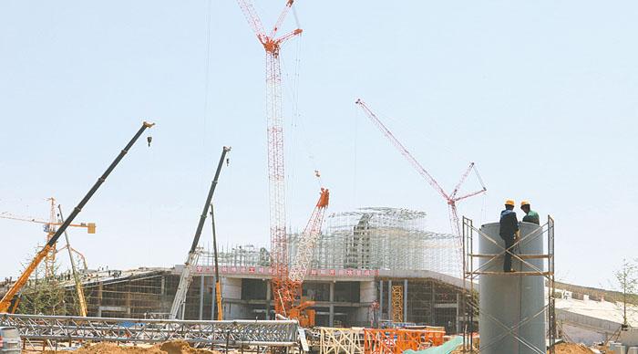 园博园主展馆正在进行二次结构和安装施工