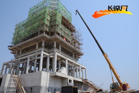 衡水园博园最高建筑滏阳楼封顶