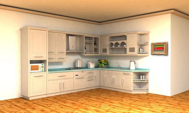 三、吊柜深度   在同一个厨房内,最好采用300mm及350mm两种尺寸(一边墙,一种深度),才能置放大碟,家庭主妇站立时,应垂手可开柜门,举手可伸到吊柜第一格,在这600-1830mm之间的水平空间中,放置常用物品,叫常用品区。厨房工作台台面,不可小于900mm460mm,否则,不够摆放物件。如地方不够,可考虑将微波炉、烤炉等放到高架上,以腾出工作台面。   四、橱柜台面尺寸   橱柜台面尺寸最小的200mm宽最大不要超过600mm,地柜门高度500mm到700mm之间,这个要看地柜的高度,踢