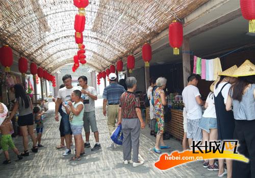 嘎子村里的地方特色购物一条街。记者 王渊 摄