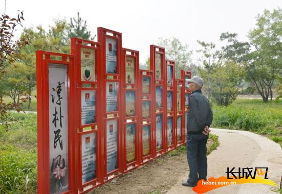 一位村民驻足于展板前认真观看村民事迹。王尚武 摄