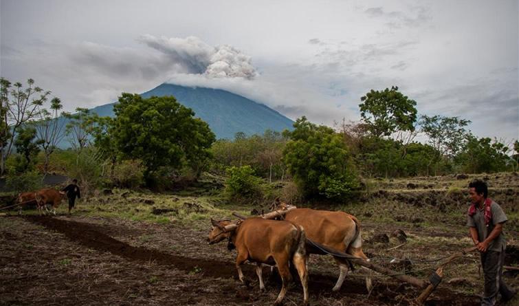 巴厘岛火山持续喷发