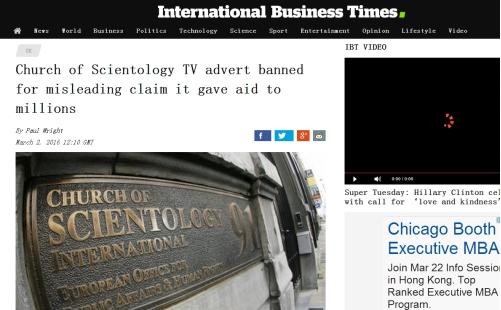 该广告还播放了科学教志愿者抬担架救人及脖子上戴着听诊器、怀抱婴儿志愿者的图像。   英国广告标准管理局接到投诉,质疑接受救助的人数是否属实以及广告是否存在误导行为。   在英国被拒绝给予慈善机构地位、但获得免税资格的科学教,声称广告中的援助人数是科学教志愿牧师在1998年至2014年之间帮助过的总人数,称志愿者们被多次送往灾害现场,分发医疗救助物资、食物、水,提供避难所。   然而广告标准管理局表示,科学教提交的援助证据是轶事证据。不仅如此,英国广告标准管理局还对个人提供援助的数据是如何计算出来的
