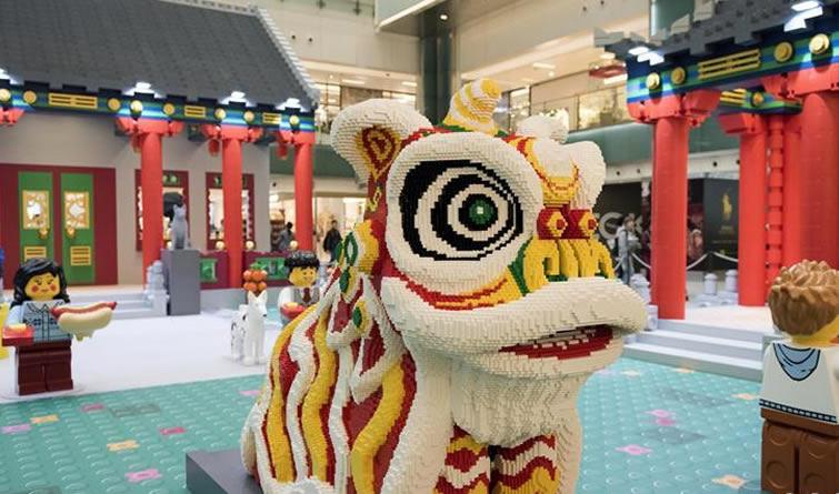 乐高主题农历新年场景作品亮相香港