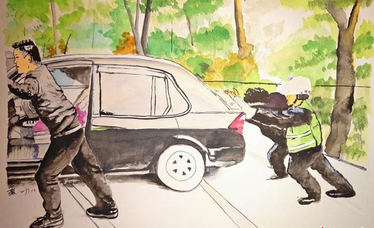 """长沙""""90后""""交警手绘记录交警故事"""