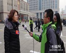 代表接受记者采访