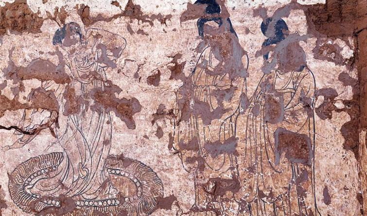 陕西发现现存最早唐墓山水屏风壁画