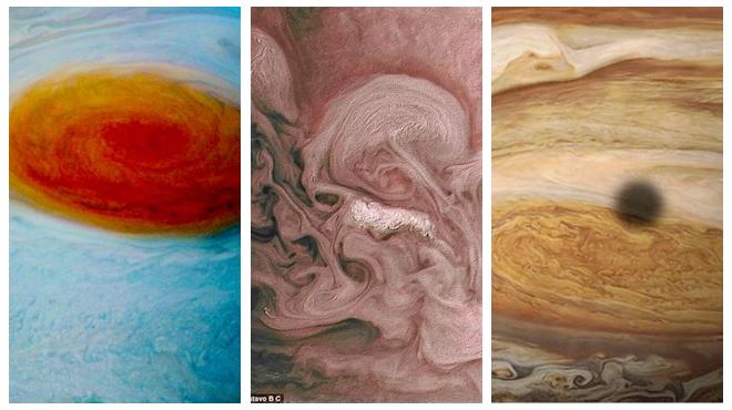 """玫瑰色的木星 NASA""""朱诺""""号拍摄的木星风暴"""