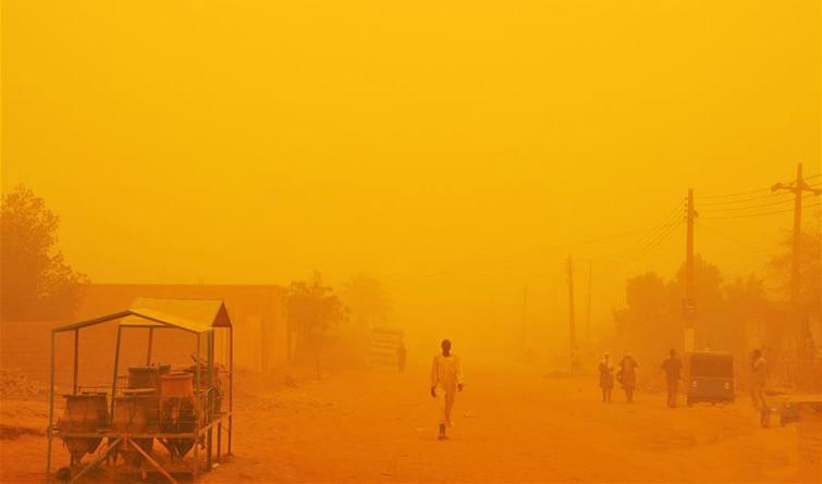 强沙尘暴袭来!苏丹首都喀土穆变身橙色世界