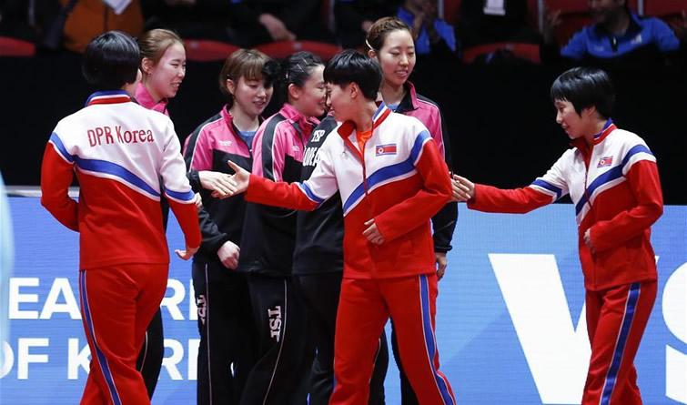 世乒赛:朝鲜韩国女队合并参加世乒赛余下比赛