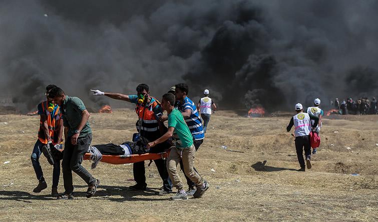 巴勒斯坦抗议者与以军冲突致55人死亡