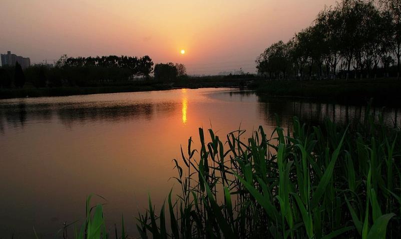 小溪映夕阳