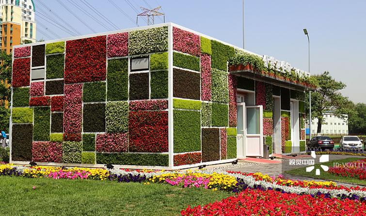 """""""绿雕公厕""""亮相北京 满墙绿植鲜花靓丽夺目"""