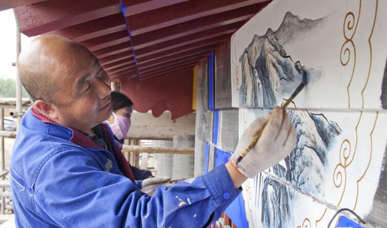 雕梁画柱 匠心独具 河北省第二届园林博览会展园彩绘工作进行时