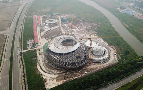上海天文馆初具规模主体建筑大悬挑支撑结构开始卸载