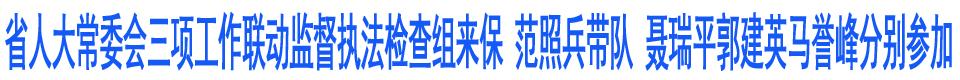 省人大常委会三项工作联动监督执法检查组来保 范照兵带队 聂瑞平郭建英马誉峰分别参加
