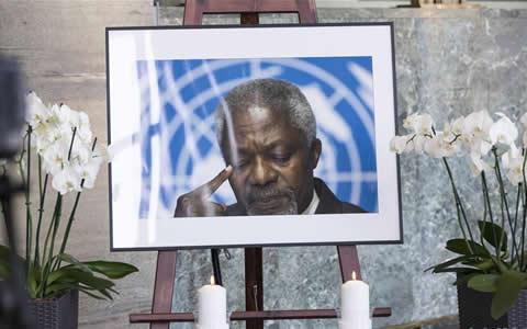 安南逝世 联合国工作人员哀悼