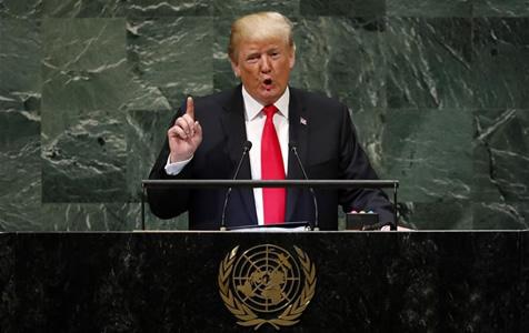 特朗普在联大演讲中称反对全球主义理念