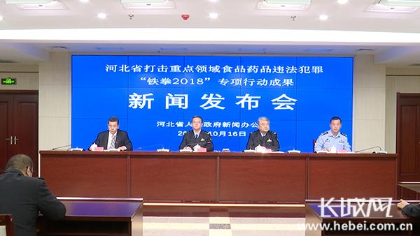 """河北省打击重点领域食品药品违法犯罪""""铁拳2018""""专项行动成果"""