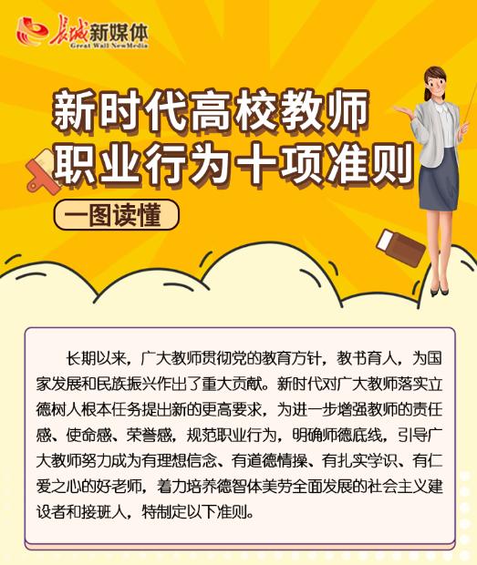 【图解】一图读懂 新时代高校教师职业行为十项准则