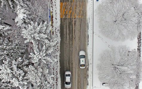 韩国多地大雪纷飞 城市化身冰雪世界