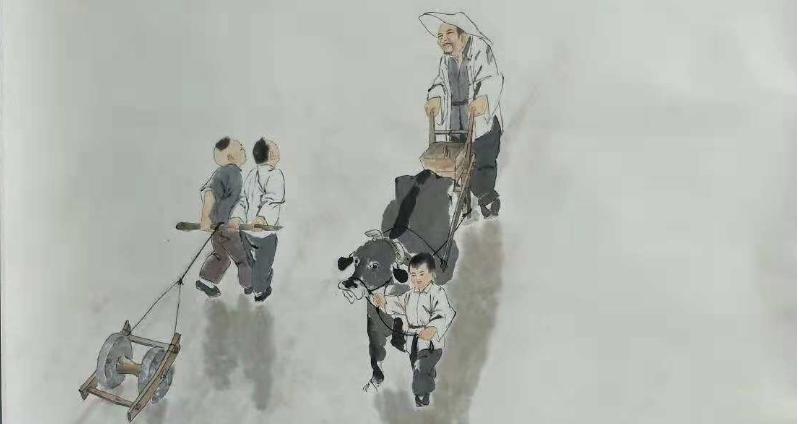 刘坤岩的民俗风情国画 提笔绘画农业史
