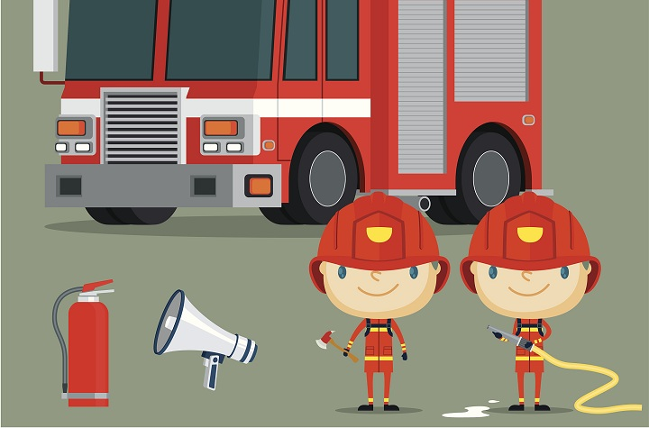 消防安全漫画图.图片来自视觉中国