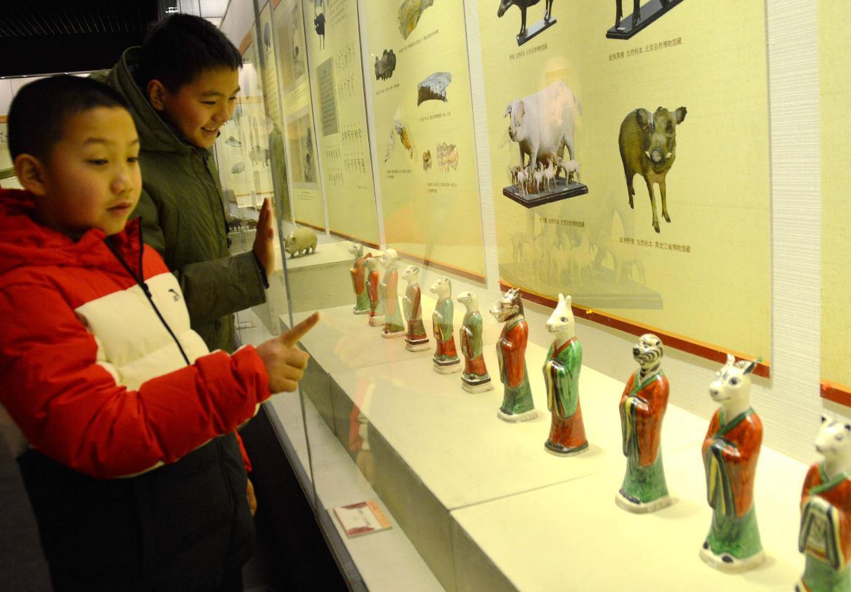 河北邯郸博物馆人气爆满 市民参观年俗展览感受节日气氛
