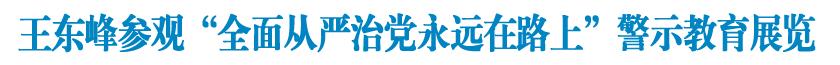 """王東峰參觀""""全面從嚴治黨永遠在路上""""警示教育展覽"""
