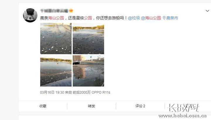 石家庄海山公园湖面漂浮垃圾 公园:系上游放水所致 已清理