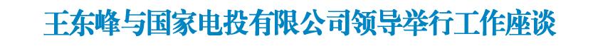王东峰与国家电力投资集团有限公司领导举行工作座谈 许勤参加座谈