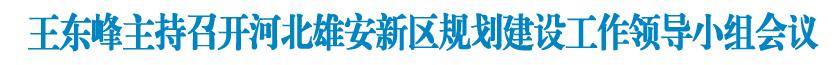 王東峰主持召開河北雄安新區規劃建設工作領導小組會議
