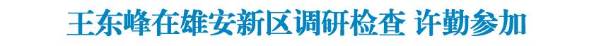 王东峰在雄安新区调研检查 许勤参加