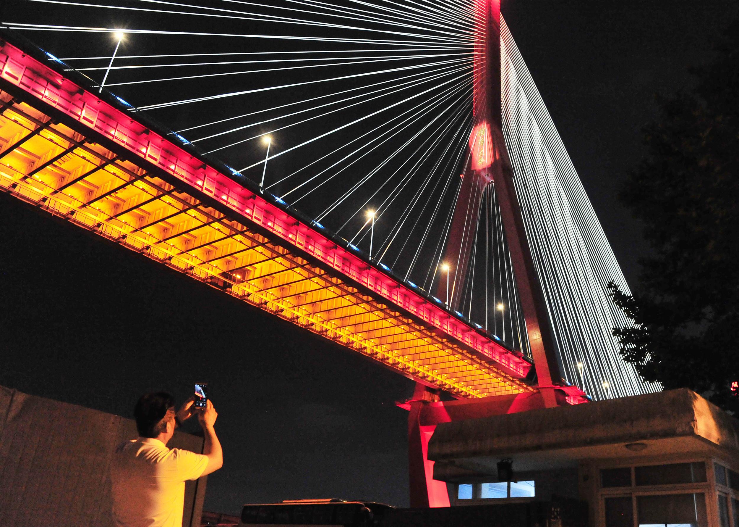 上海:投影灯点缀杨浦滨江 宛若片片花瓣撒江畔,千年染色表