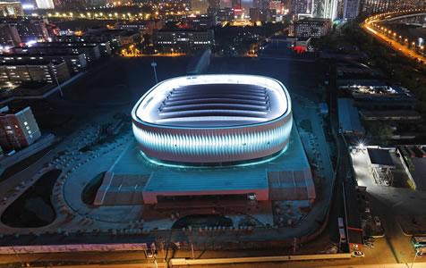 河北首个穹顶结构体育馆亮化