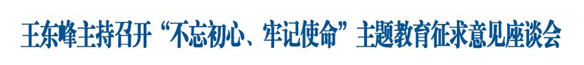 """王东峰主持召开""""不忘初心、牢记使命""""主题教育征求意见座谈会"""
