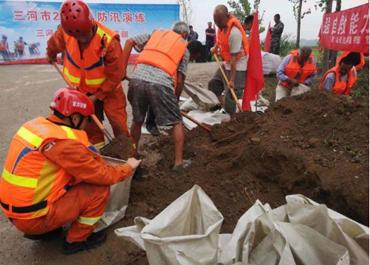 三河市举办2019年防汛救援抢险演练