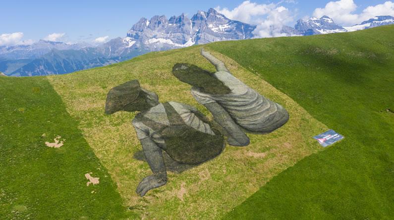 瑞士艺术家创作地面涂鸦作品 美观环保可降解