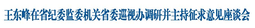 王东峰在省纪委监委机关省委巡视办调研并主持召开征求意见座谈会