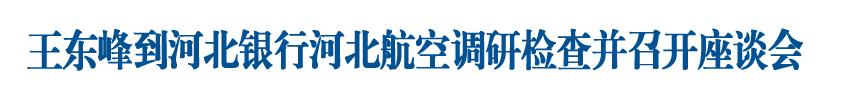 王東峰到河北銀行河北航空公司調研檢查并主持召開省屬國有企業座談會