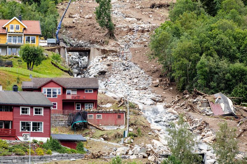 挪威发生泥石流