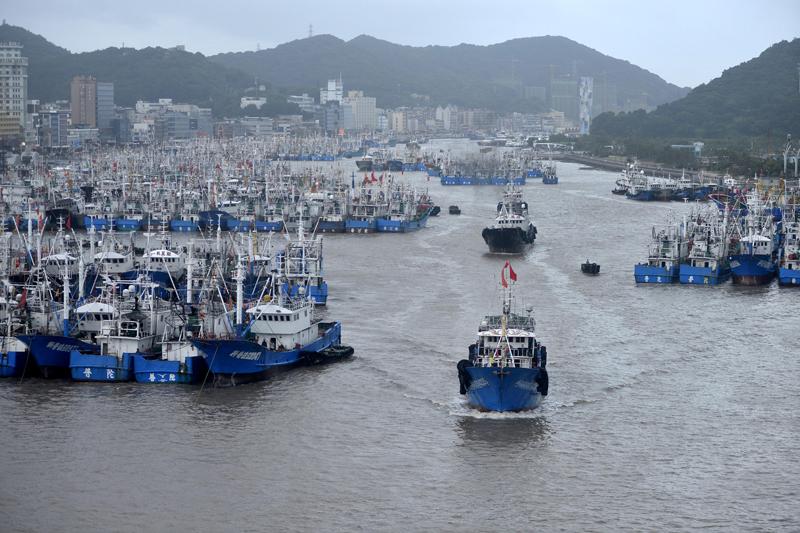 大批渔船回港躲避台风