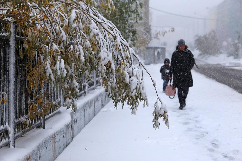 俄罗斯迎来降雪天气