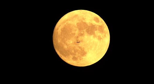 飞机从月亮前穿过,你见过吗?