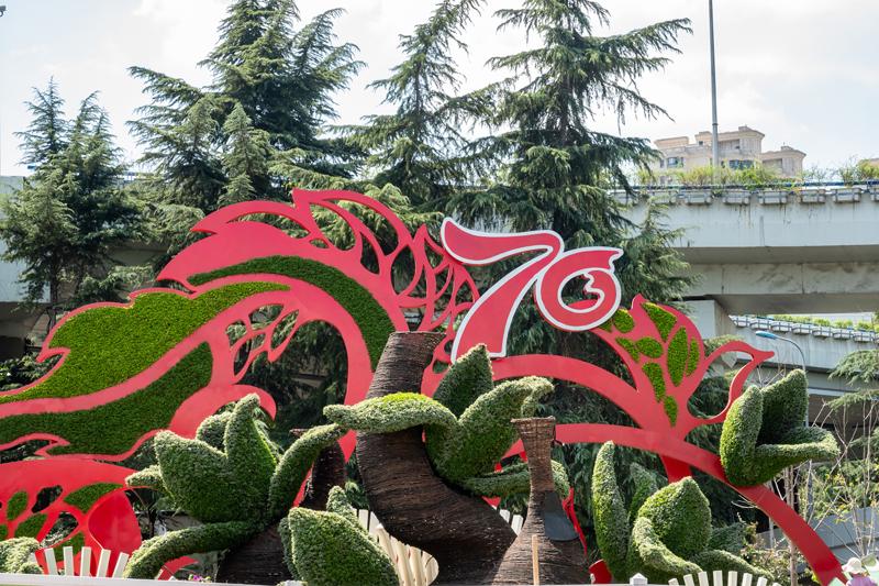 庆祝新中国成立70周年主题花坛