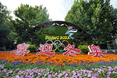 北京:昌平街头现冬奥主题花坛 迎接2022冬奥会