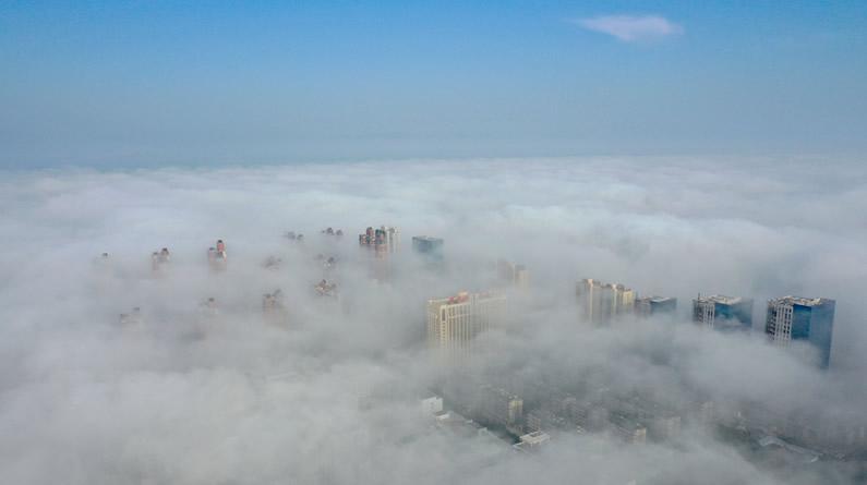 河北邢台现平流雾景观 宛如仙境