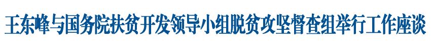 王东峰与国务院扶贫开发领导小组脱贫攻坚督查组举行工作座谈