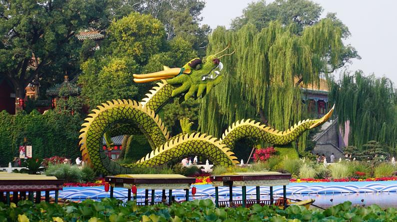 """北京:""""龙腾盛世""""花坛亮相北海公园"""