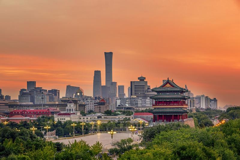 北京清晨红霞满天